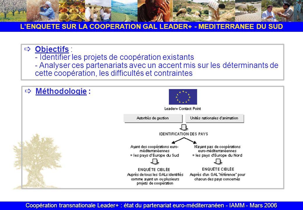 Coopération transnationale Leader+ : état du partenariat euro-méditerranéen - IAMM - Mars 2006 Objectifs : - Identifier les projets de coopération existants - Analyser ces partenariats avec un accent mis sur les déterminants de cette coopération, les difficultés et contraintes Méthodologie : LENQUETE SUR LA COOPERATION GAL LEADER+ - MEDITERRANEE DU SUD