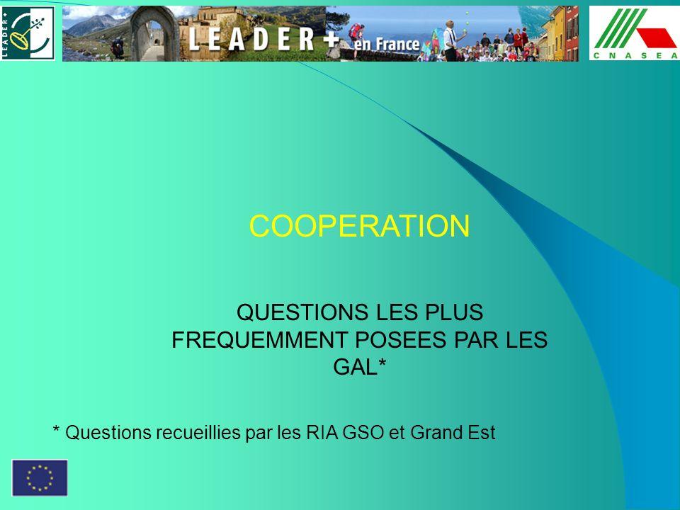 COOPERATION QUESTIONS LES PLUS FREQUEMMENT POSEES PAR LES GAL* * Questions recueillies par les RIA GSO et Grand Est