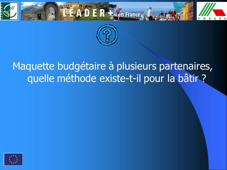 Maquette budgétaire à plusieurs partenaires, quelle méthode existe-t-il pour la bâtir ?