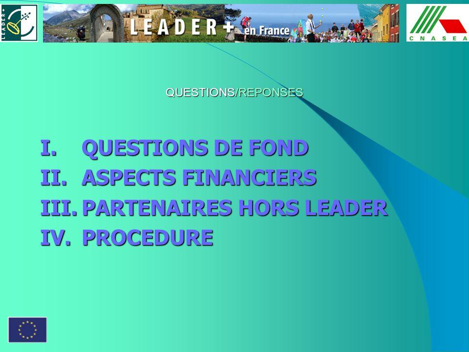 QUESTIONS/REPONSES I.QUESTIONS DE FOND II.ASPECTS FINANCIERS III.PARTENAIRES HORS LEADER IV.PROCEDURE
