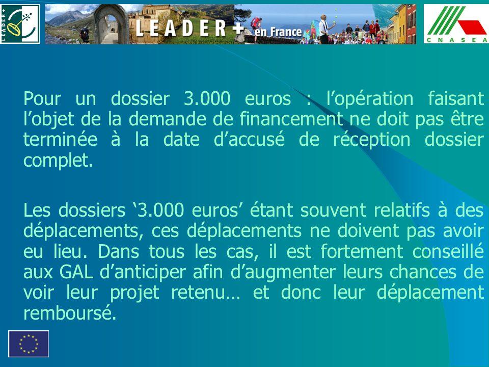 Pour un dossier 3.000 euros : lopération faisant lobjet de la demande de financement ne doit pas être terminée à la date daccusé de réception dossier