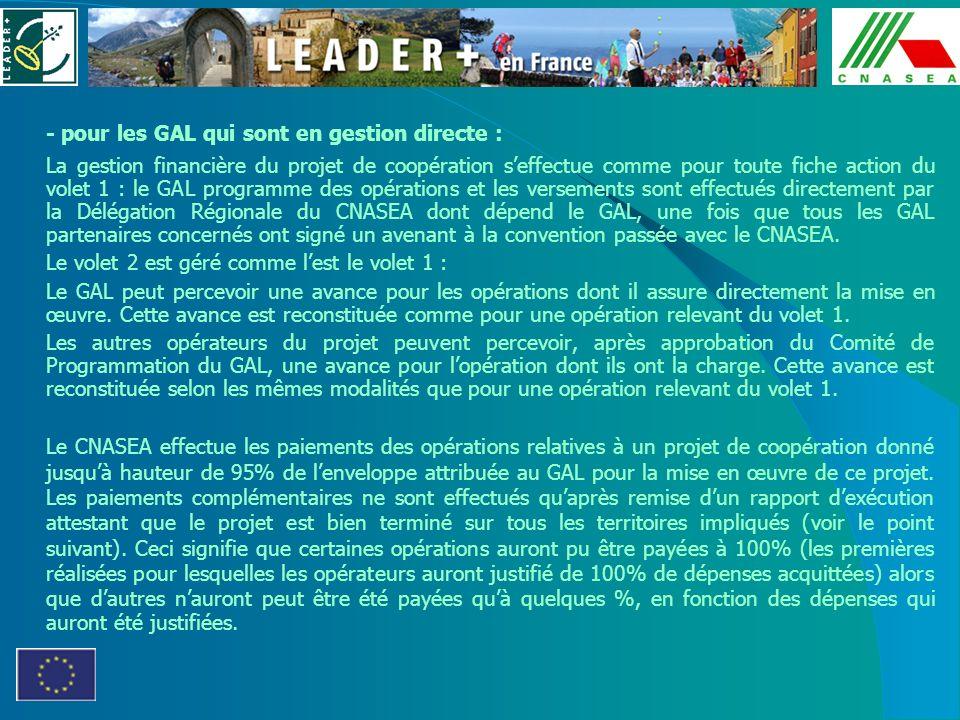 - pour les GAL qui sont en gestion directe : La gestion financière du projet de coopération seffectue comme pour toute fiche action du volet 1 : le GA