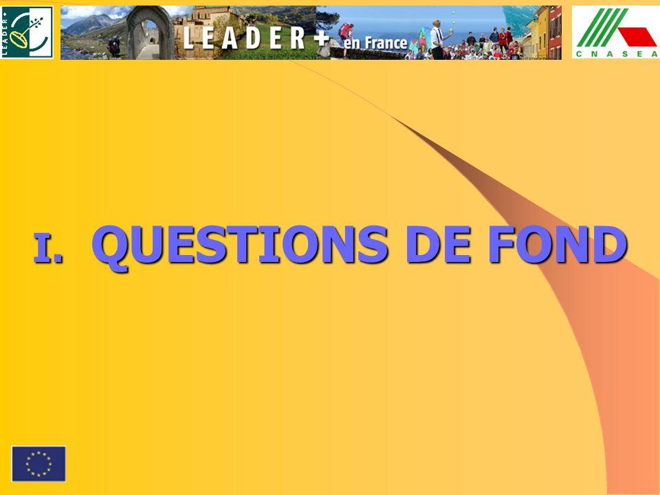 I. QUESTIONS DE FOND