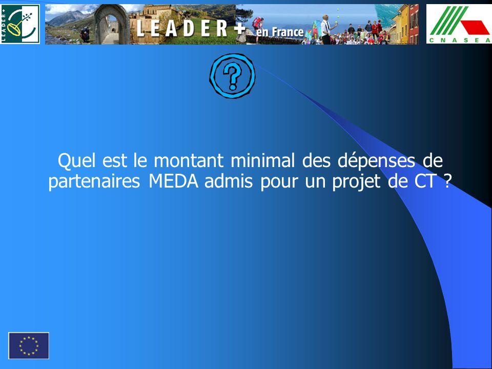 Quel est le montant minimal des dépenses de partenaires MEDA admis pour un projet de CT ?