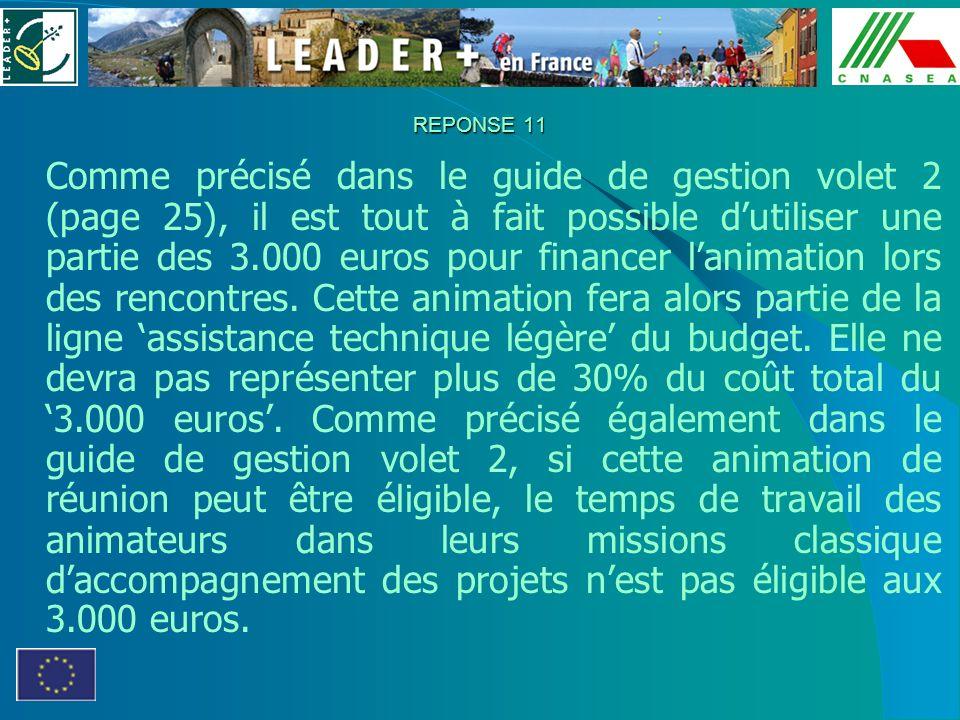 REPONSE 11 Comme précisé dans le guide de gestion volet 2 (page 25), il est tout à fait possible dutiliser une partie des 3.000 euros pour financer la