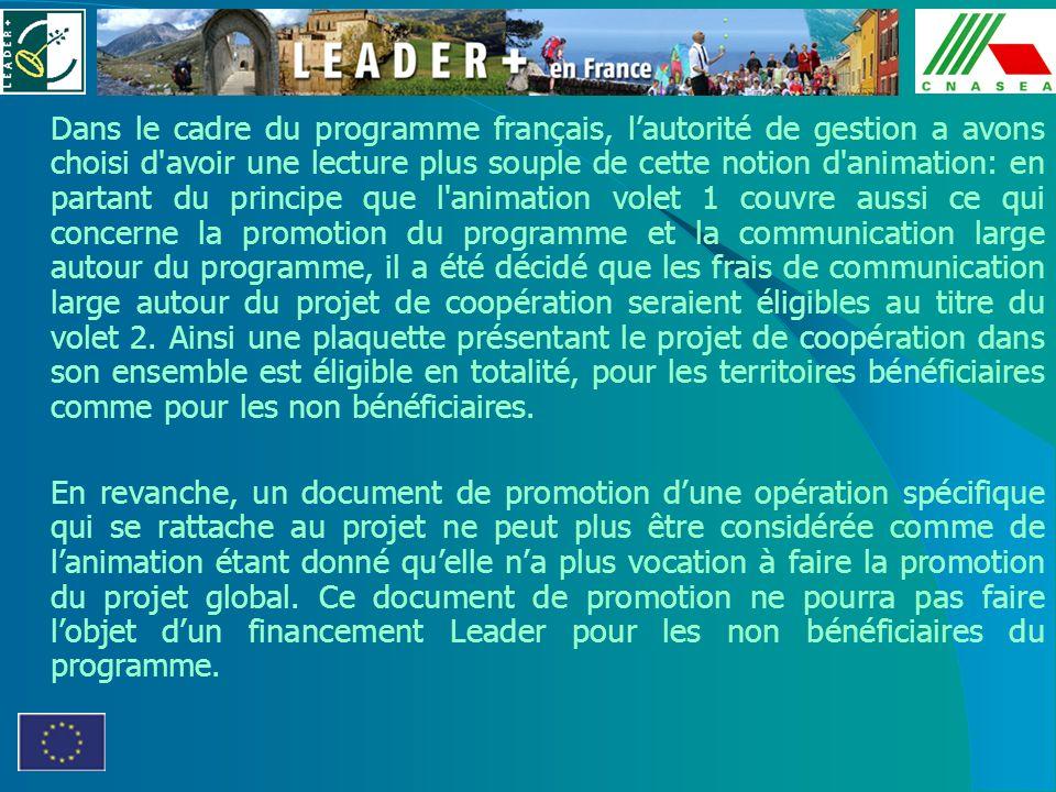 Dans le cadre du programme français, lautorité de gestion a avons choisi d'avoir une lecture plus souple de cette notion d'animation: en partant du pr
