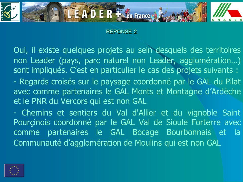 REPONSE 2 Oui, il existe quelques projets au sein desquels des territoires non Leader (pays, parc naturel non Leader, agglomération…) sont impliqués.