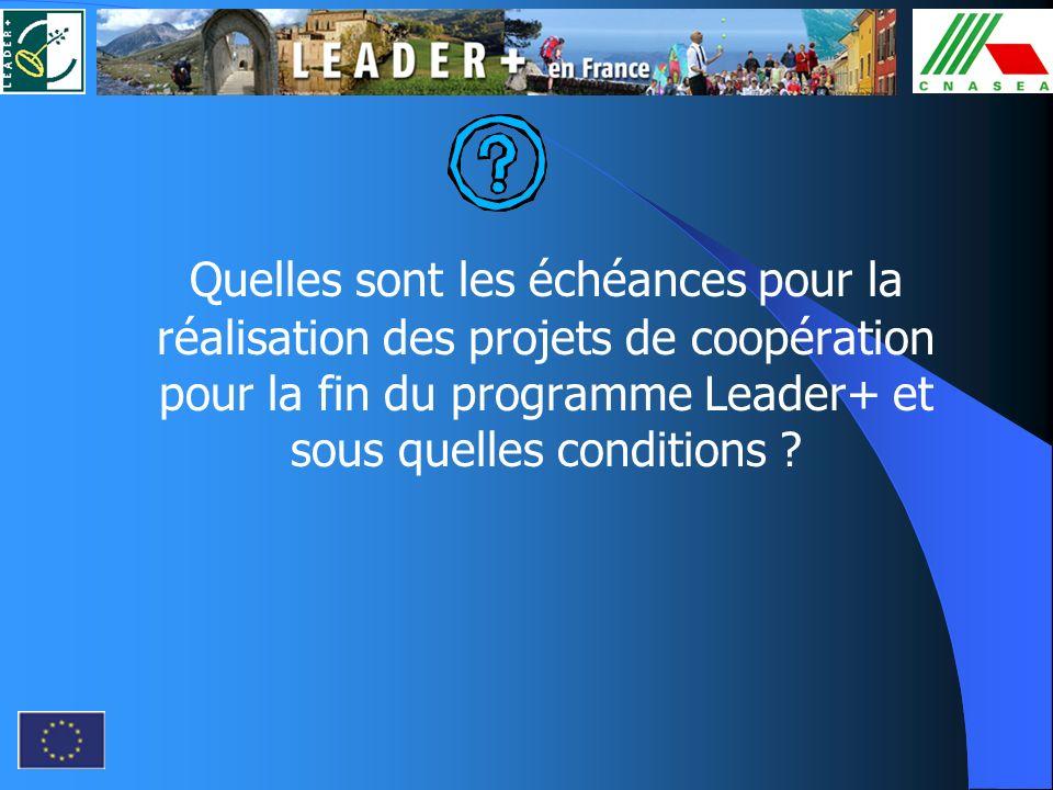 Quelles sont les échéances pour la réalisation des projets de coopération pour la fin du programme Leader+ et sous quelles conditions ?