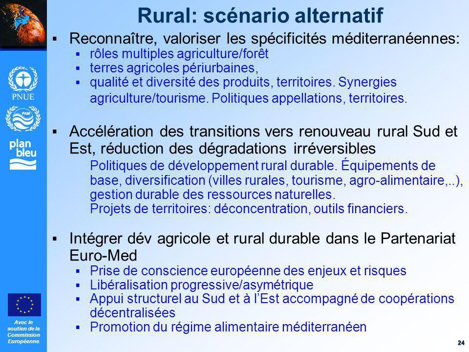 Avec le soutien de la Commission Européenne 24 Rural: scénario alternatif Reconnaître, valoriser les spécificités méditerranéennes: rôles multiples ag