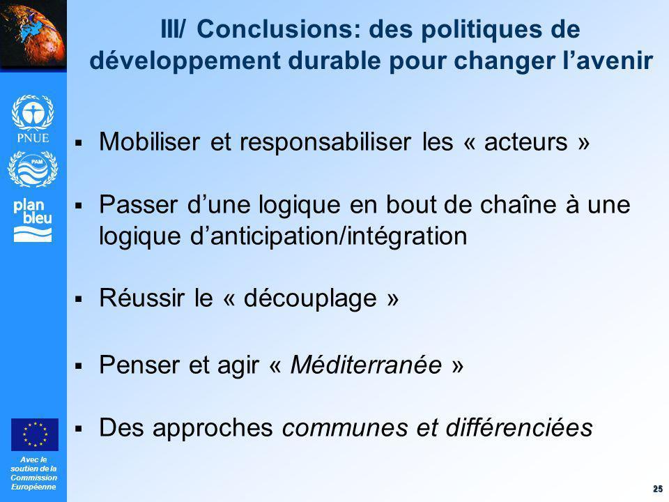 Avec le soutien de la Commission Européenne 25 III/ Conclusions: des politiques de développement durable pour changer lavenir Mobiliser et responsabil