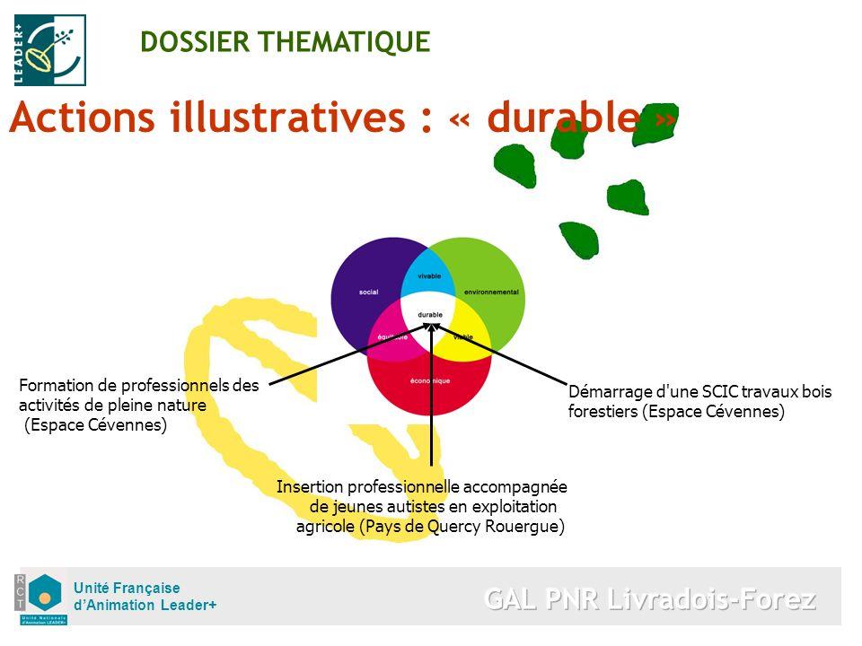 Unité Française dAnimation Leader+ Actions illustratives : « durable » DOSSIER THEMATIQUE Démarrage d'une SCIC travaux bois forestiers (Espace Cévenne