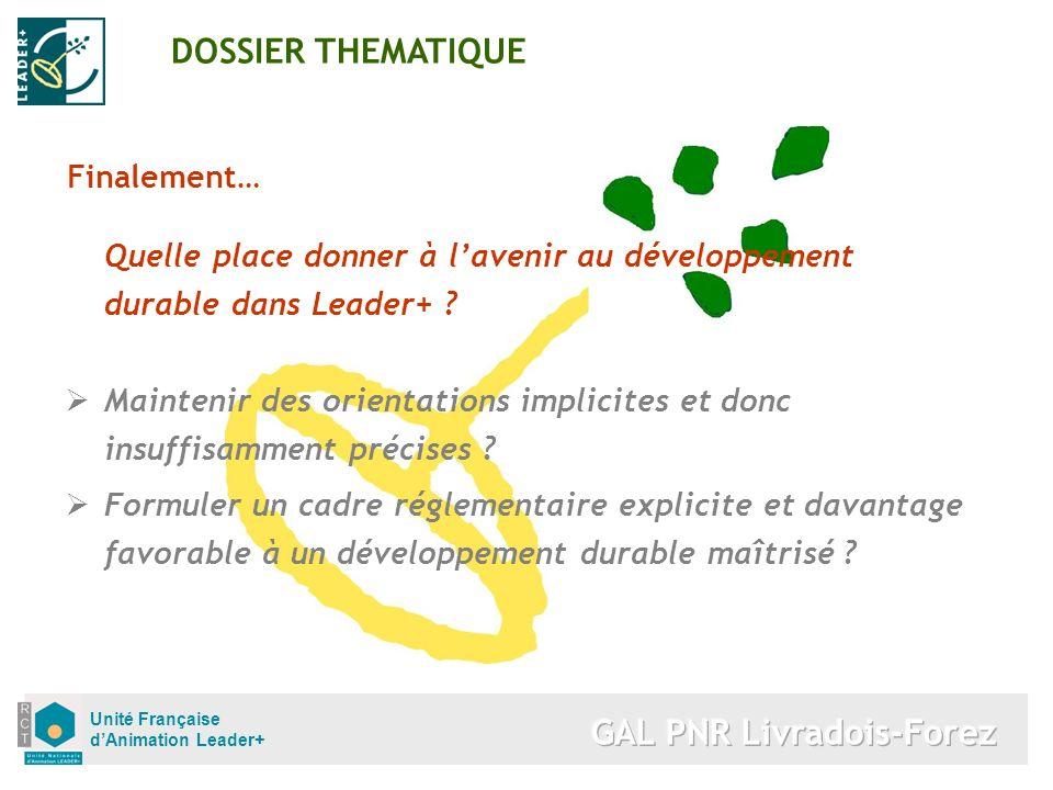 Unité Française dAnimation Leader+ Finalement… Quelle place donner à lavenir au développement durable dans Leader+ ? Maintenir des orientations implic