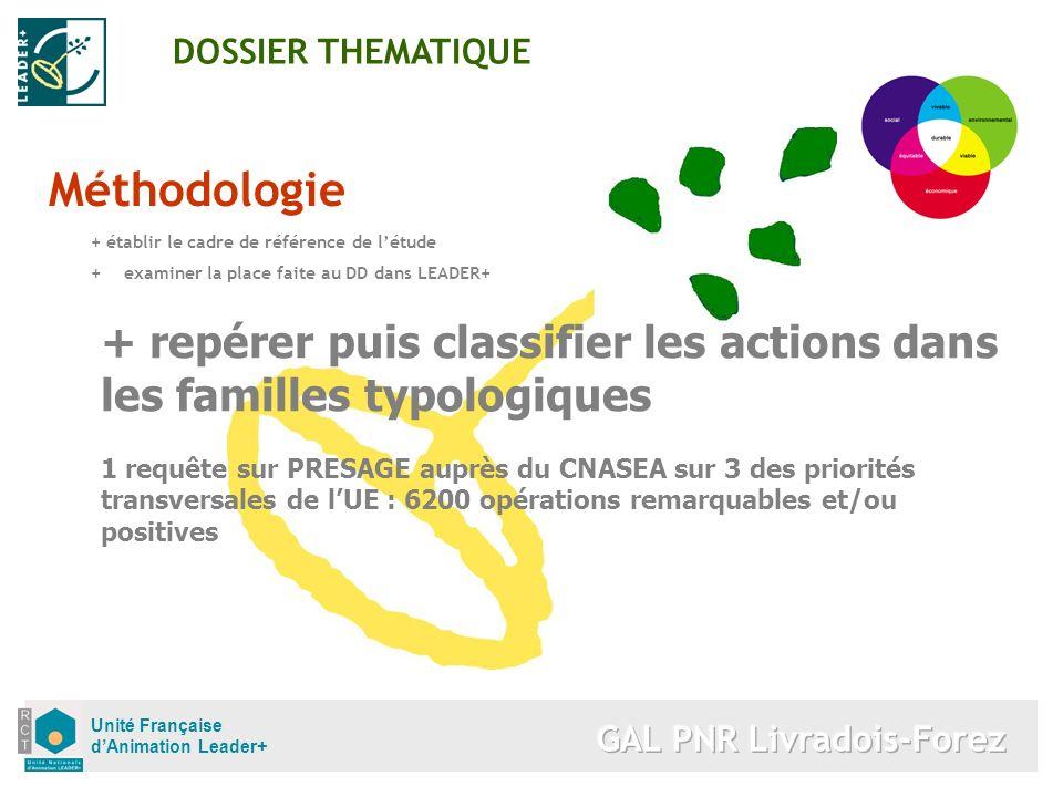 Unité Française dAnimation Leader+ Méthodologie + établir le cadre de référence de létude +examiner la place faite au DD dans LEADER+ DOSSIER THEMATIQ