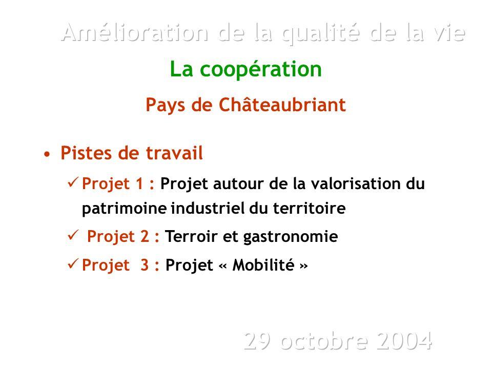 La coopération Pays de Châteaubriant Pistes de travail Projet 1 : Projet autour de la valorisation du patrimoine industriel du territoire Projet 2 : Terroir et gastronomie Projet 3 : Projet « Mobilité »