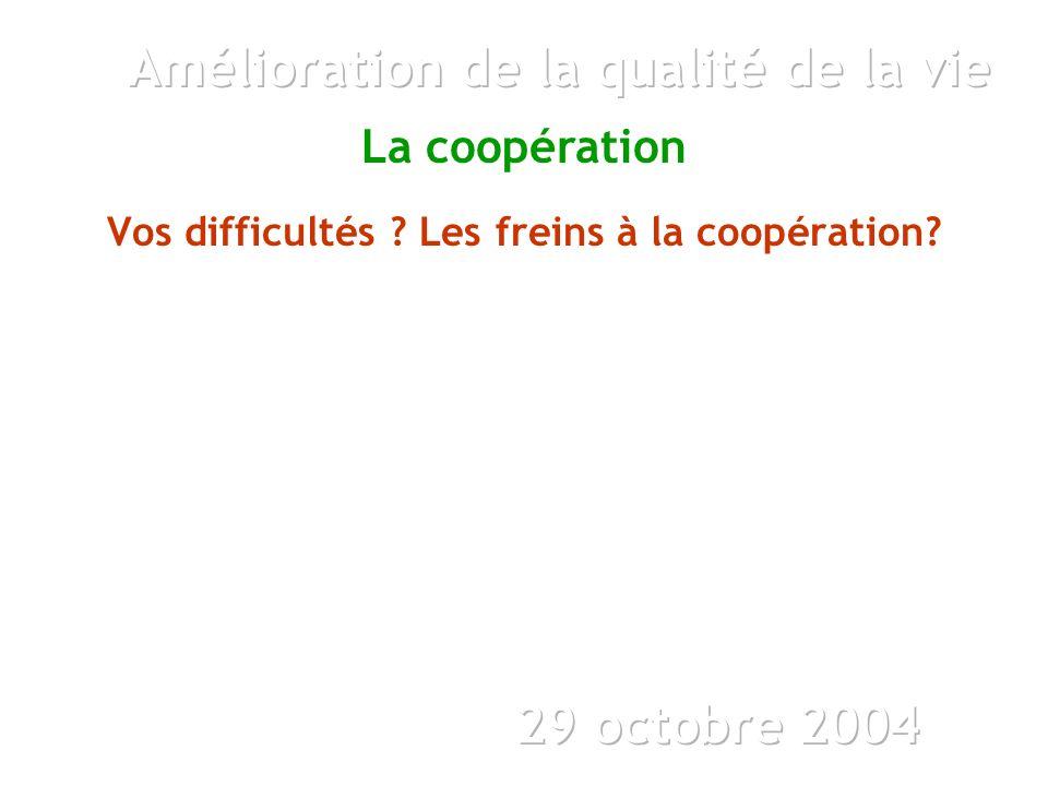 La coopération Vos difficultés Les freins à la coopération