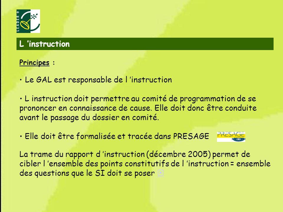 14 L instruction Principes : Le GAL est responsable de l instruction L instruction doit permettre au comité de programmation de se prononcer en connai