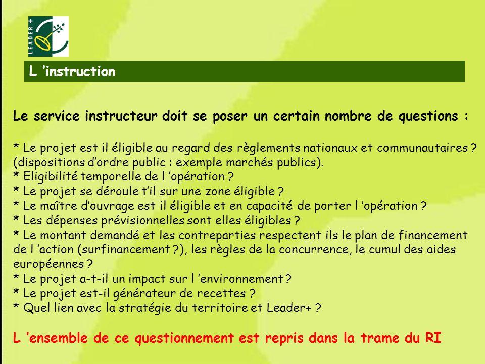 16 Le service instructeur doit se poser un certain nombre de questions : * Le projet est il éligible au regard des règlements nationaux et communautai
