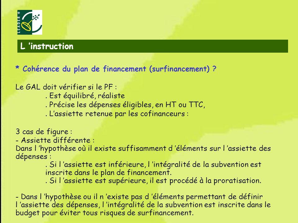 22 * Cohérence du plan de financement (surfinancement) ? Le GAL doit vérifier si le PF :. Est équilibré, réaliste. Précise les dépenses éligibles, en