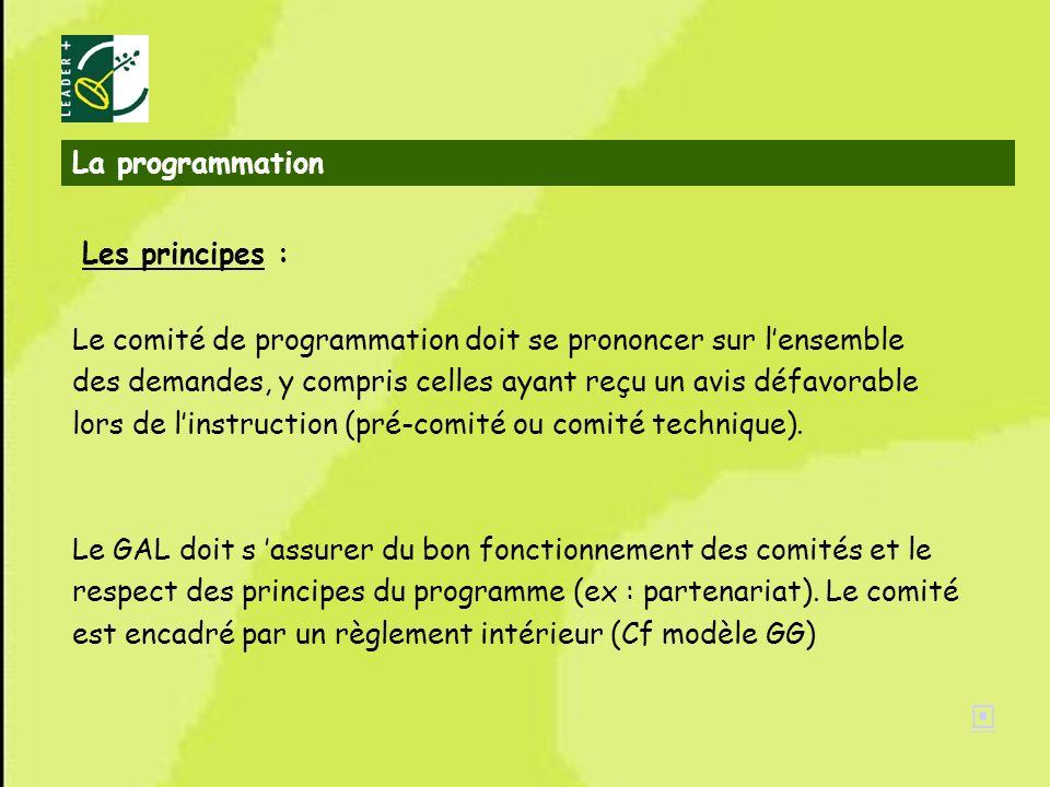 32 La programmation Les principes : Le comité de programmation doit se prononcer sur lensemble des demandes, y compris celles ayant reçu un avis défav