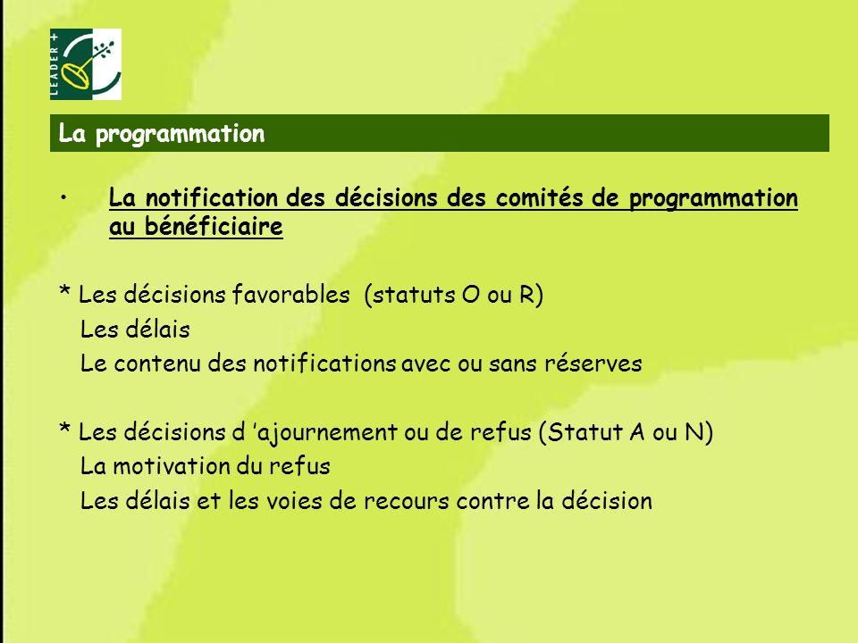 35 La programmation La notification des décisions des comités de programmation au bénéficiaire * Les décisions favorables (statuts O ou R) Les délais