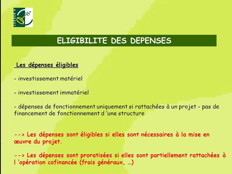 53 Les dépenses éligibles - investissement matériel - investissement immatériel - dépenses de fonctionnement uniquement si rattachées à un projet - pa