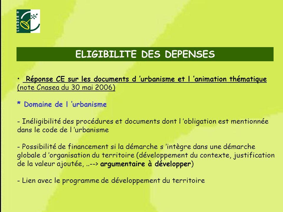 57 ELIGIBILITE DES DEPENSES Réponse CE sur les documents d urbanisme et l animation thématique (note Cnasea du 30 mai 2006) * Domaine de l urbanisme -