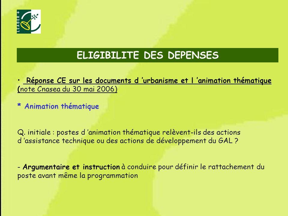 58 ELIGIBILITE DES DEPENSES Réponse CE sur les documents d urbanisme et l animation thématique (note Cnasea du 30 mai 2006) * Animation thématique Q.