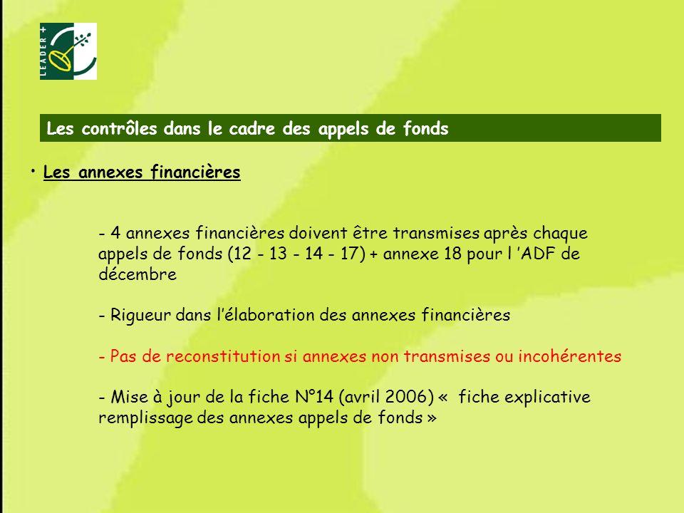 64 Les annexes financières - 4 annexes financières doivent être transmises après chaque appels de fonds (12 - 13 - 14 - 17) + annexe 18 pour l ADF de