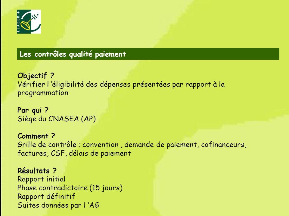 67 Les contrôles qualité paiement Objectif ? Vérifier l éligibilité des dépenses présentées par rapport à la programmation Par qui ? Siège du CNASEA (
