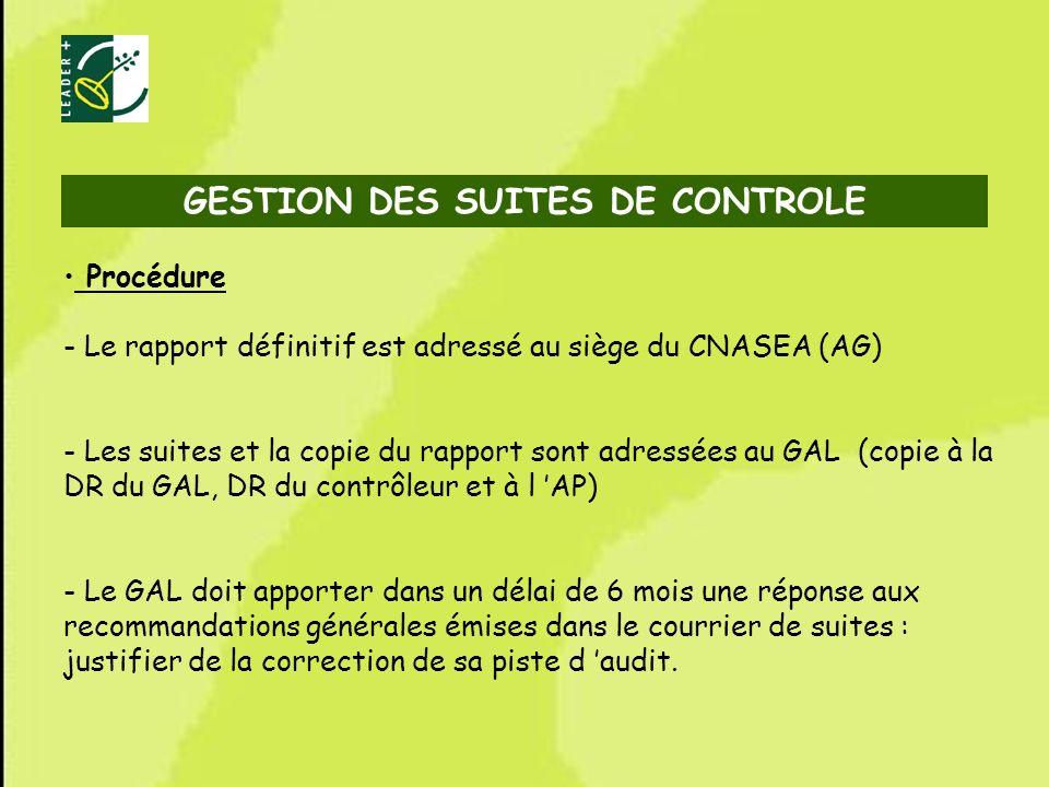 70 Procédure - Le rapport définitif est adressé au siège du CNASEA (AG) - Les suites et la copie du rapport sont adressées au GAL (copie à la DR du GA