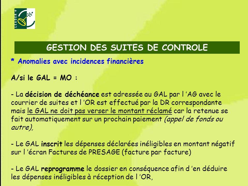 72 * Anomalies avec incidences financières A/si le GAL = MO : - La décision de déchéance est adressée au GAL par l AG avec le courrier de suites et l