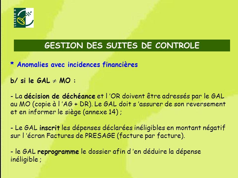 73 * Anomalies avec incidences financières b/ si le GAL MO : - La décision de déchéance et l OR doivent être adressés par le GAL au MO (copie à l AG +