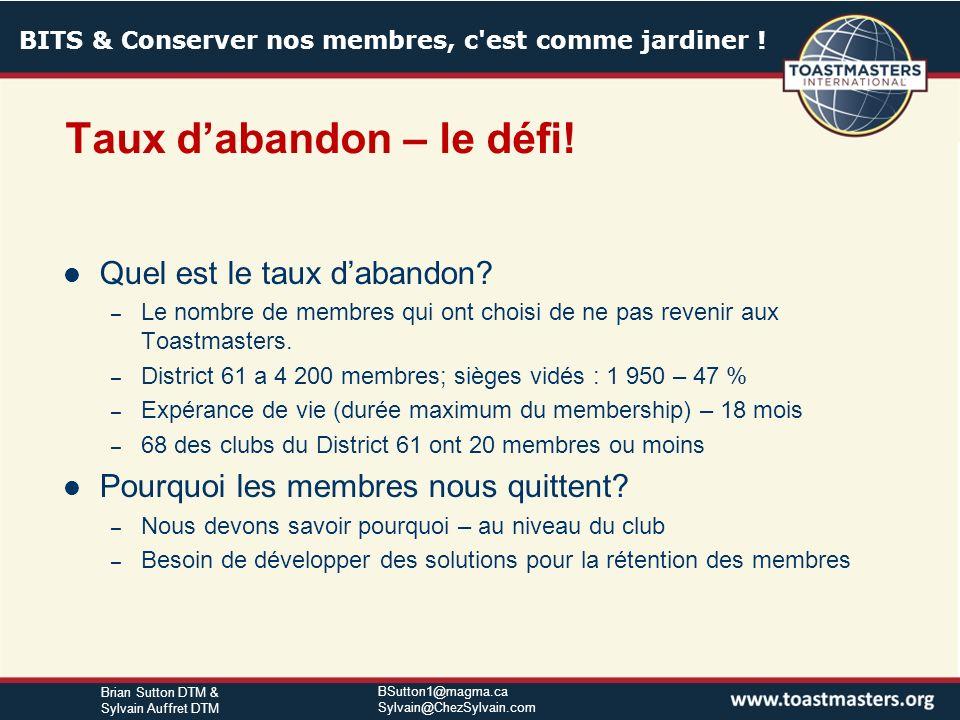 BITS & Conserver nos membres, c'est comme jardiner ! BSutton1@magma.ca Sylvain@ChezSylvain.com Brian Sutton DTM & Sylvain Auffret DTM Méthodes non-tra