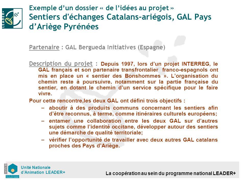 La coopération au sein du programme national LEADER+ Unité Nationale dAnimation LEADER+ Exemple dun dossier « de lidées au projet » Sentiers d'échange