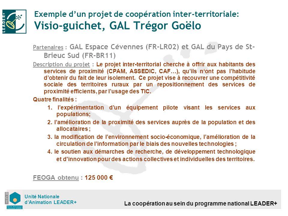 La coopération au sein du programme national LEADER+ Unité Nationale dAnimation LEADER+ Exemple dun projet de coopération inter-territoriale: Visio-guichet, GAL Trégor Goëlo Partenaires : GAL Espace Cévennes (FR-LR02) et GAL du Pays de St- Brieuc Sud (FR-BR11) Description du projet : Le projet inter-territorial cherche à offrir aux habitants des services de proximité (CPAM, ASSEDIC, CAF…), quils nont pas lhabitude dobtenir du fait de leur isolement.