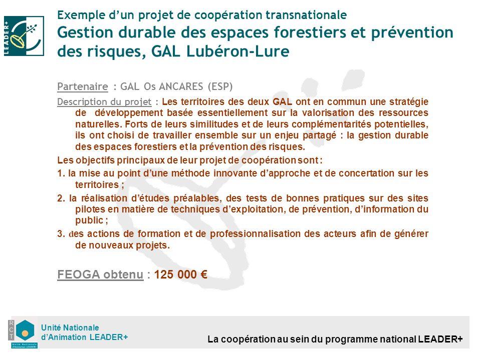 La coopération au sein du programme national LEADER+ Unité Nationale dAnimation LEADER+ Exemple dun projet de coopération transnationale Gestion durab