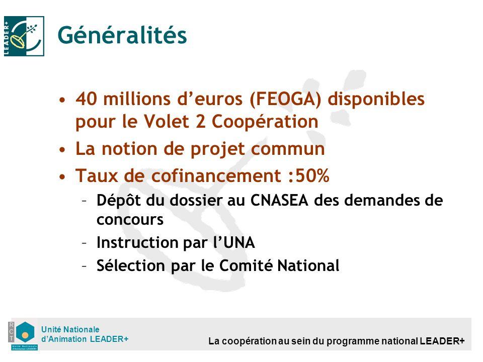 La coopération au sein du programme national LEADER+ Unité Nationale dAnimation LEADER+ Généralités 40 millions deuros (FEOGA) disponibles pour le Vol