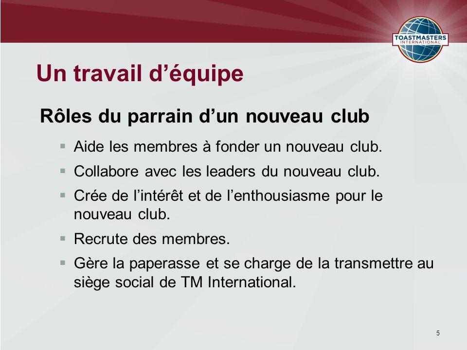 Être la personne-ressource officielle pour superviser lorganisation du nouveau club.