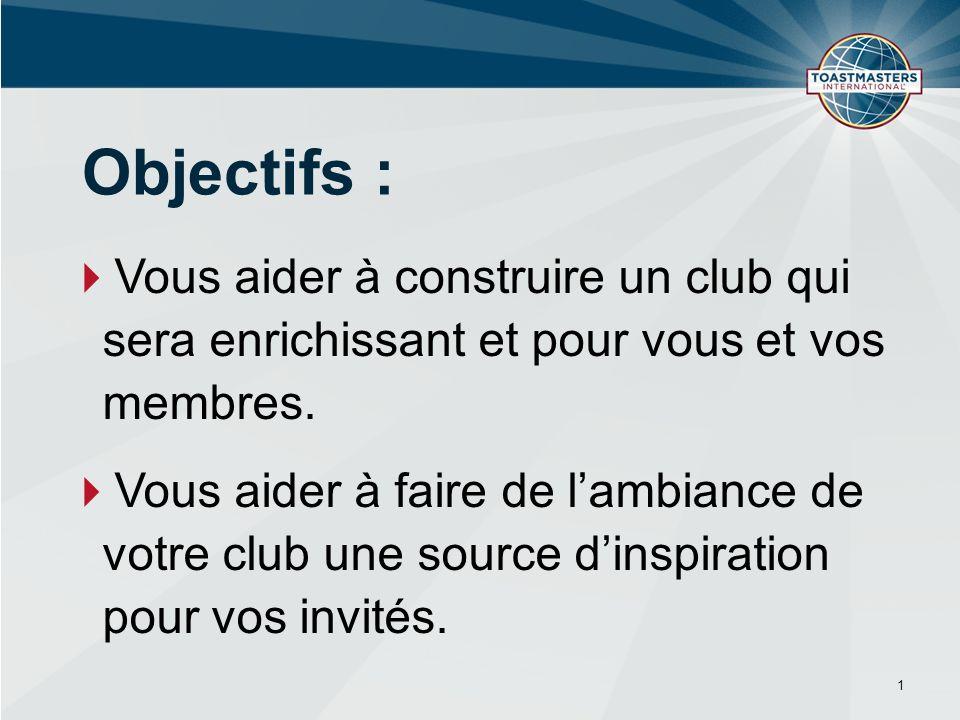 Vous aider à construire un club qui sera enrichissant et pour vous et vos membres.