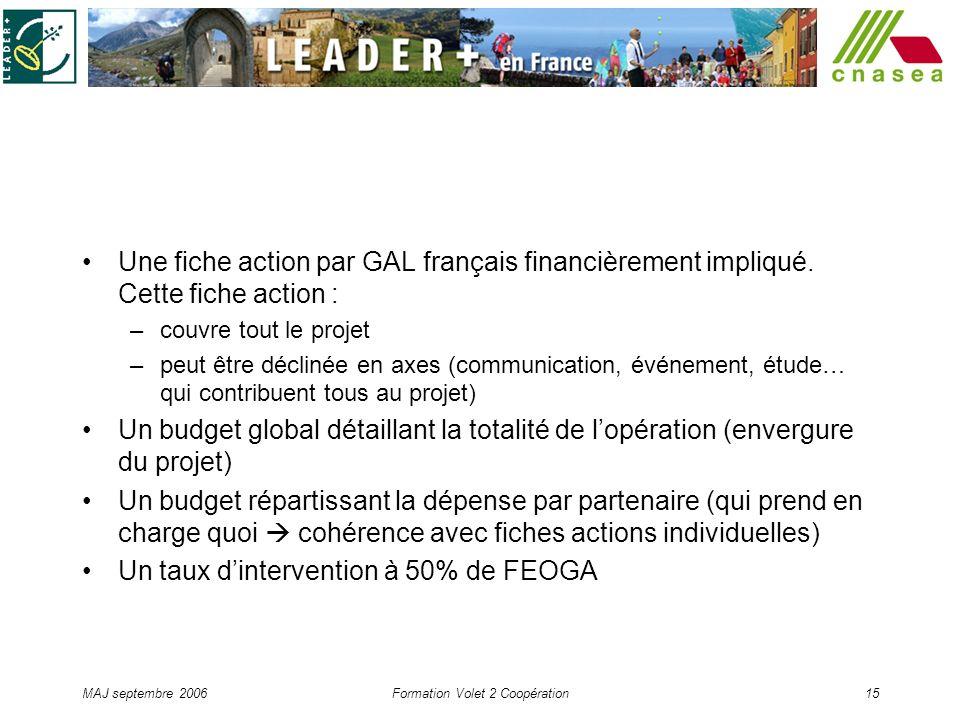 MAJ septembre 2006Formation Volet 2 Coopération15 Une fiche action par GAL français financièrement impliqué. Cette fiche action : –couvre tout le proj