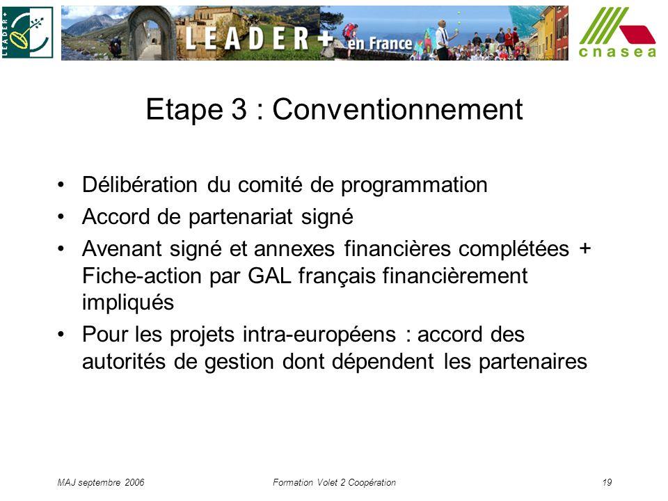 MAJ septembre 2006Formation Volet 2 Coopération19 Etape 3 : Conventionnement Délibération du comité de programmation Accord de partenariat signé Avena