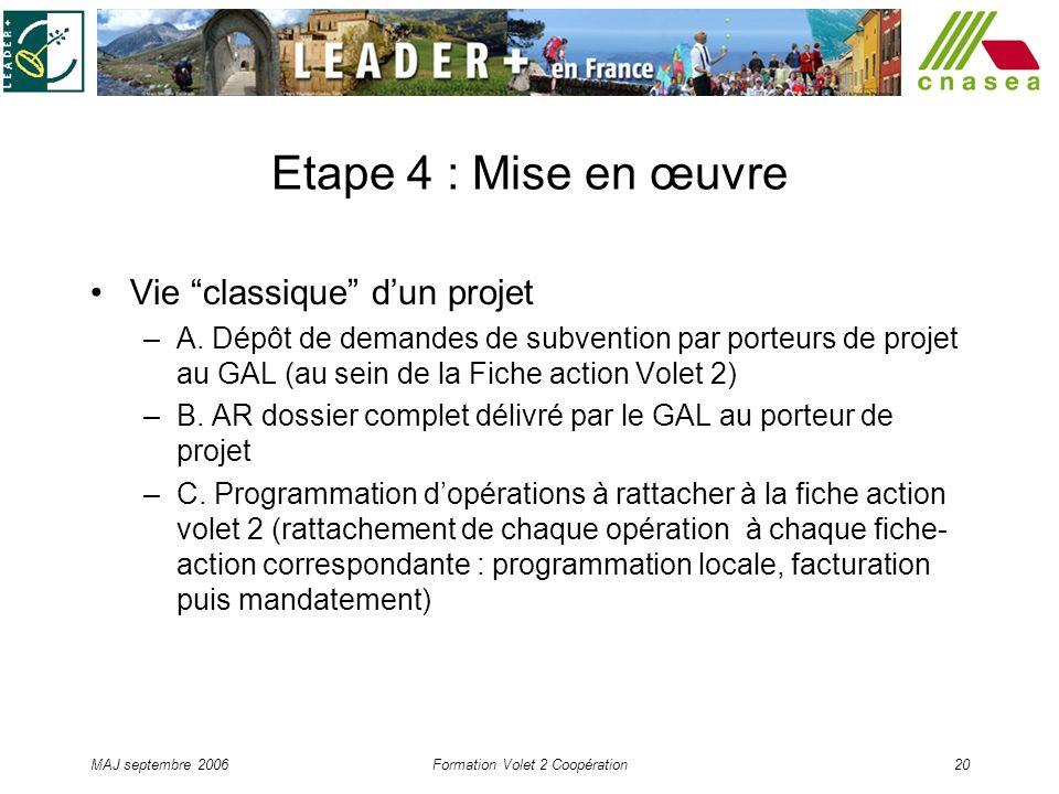 MAJ septembre 2006Formation Volet 2 Coopération20 Etape 4 : Mise en œuvre Vie classique dun projet –A. Dépôt de demandes de subvention par porteurs de