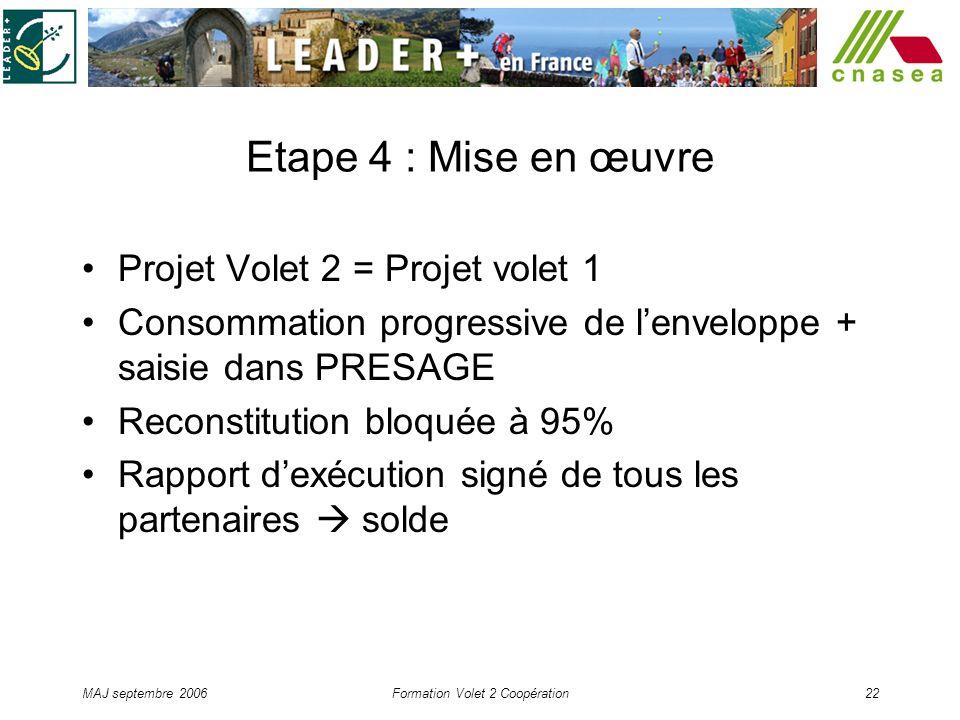 MAJ septembre 2006Formation Volet 2 Coopération22 Etape 4 : Mise en œuvre Projet Volet 2 = Projet volet 1 Consommation progressive de lenveloppe + sai
