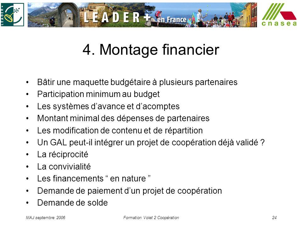MAJ septembre 2006Formation Volet 2 Coopération24 4. Montage financier Bâtir une maquette budgétaire à plusieurs partenaires Participation minimum au