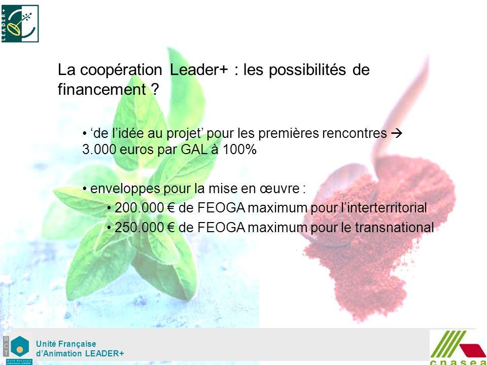 Mardi 02 mai Unité Française dAnimation LEADER+ La coopération Leader+ : les possibilités de financement .