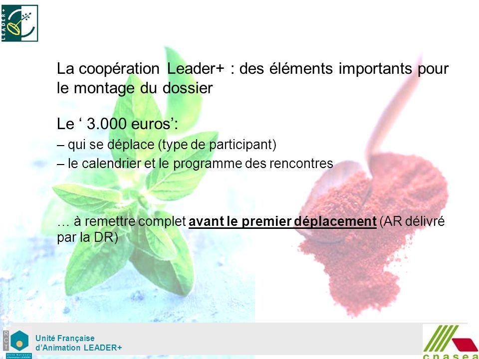 Mardi 02 mai Unité Française dAnimation LEADER+ La coopération Leader+ : des éléments importants pour le montage du dossier Le 3.000 euros: – qui se déplace (type de participant) – le calendrier et le programme des rencontres … à remettre complet avant le premier déplacement (AR délivré par la DR)