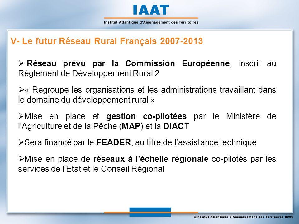 Réseau prévu par la Commission Européenne, inscrit au Règlement de Développement Rural 2 « Regroupe les organisations et les administrations travaillant dans le domaine du développement rural » Mise en place et gestion co-pilotées par le Ministère de lAgriculture et de la Pêche (MAP) et la DIACT Sera financé par le FEADER, au titre de lassistance technique Mise en place de réseaux à léchelle régionale co-pilotés par les services de lÉtat et le Conseil Régional V- Le futur Réseau Rural Français 2007-2013
