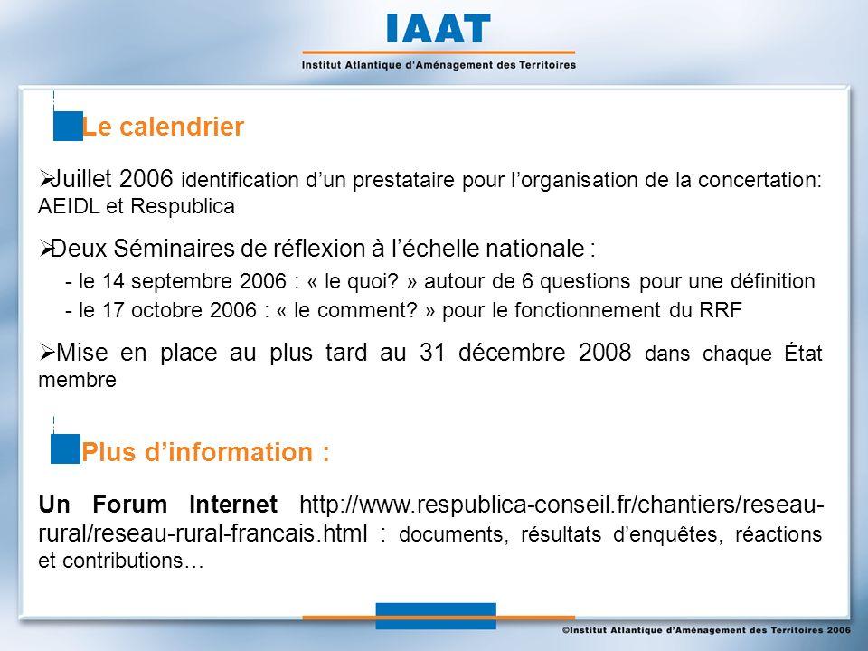 Juillet 2006 identification dun prestataire pour lorganisation de la concertation: AEIDL et Respublica Deux Séminaires de réflexion à léchelle nationale : - le 14 septembre 2006 : « le quoi.