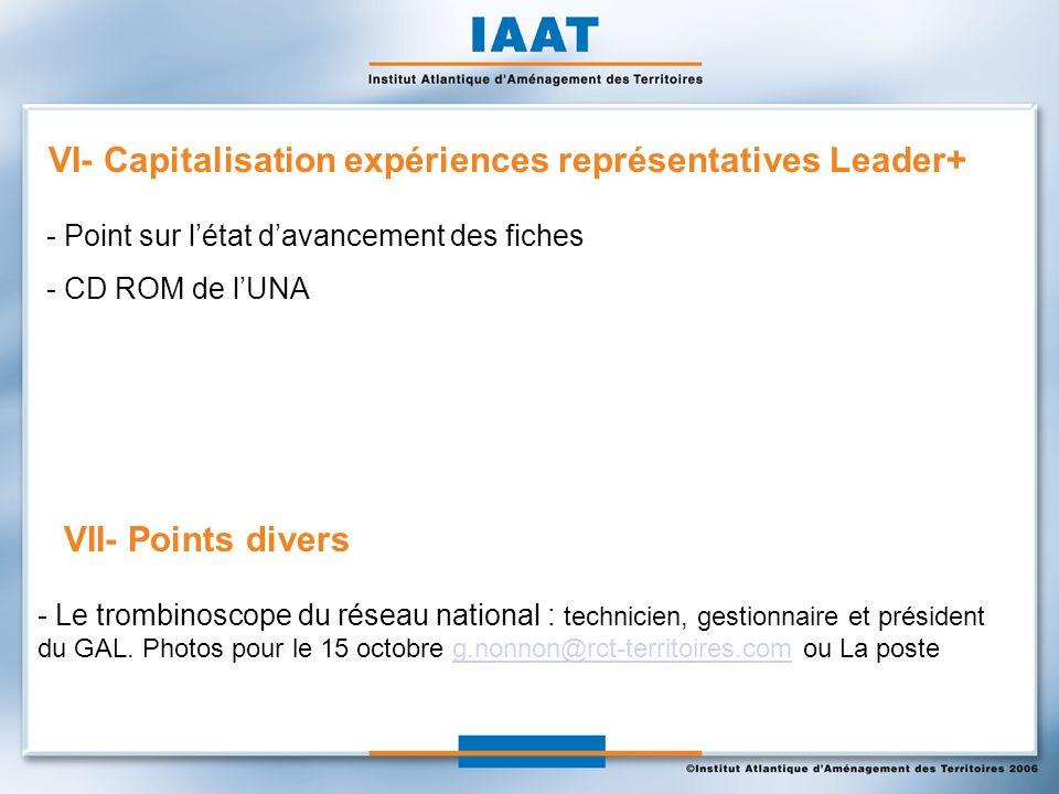 VI- Capitalisation expériences représentatives Leader+ VII- Points divers - Le trombinoscope du réseau national : technicien, gestionnaire et président du GAL.