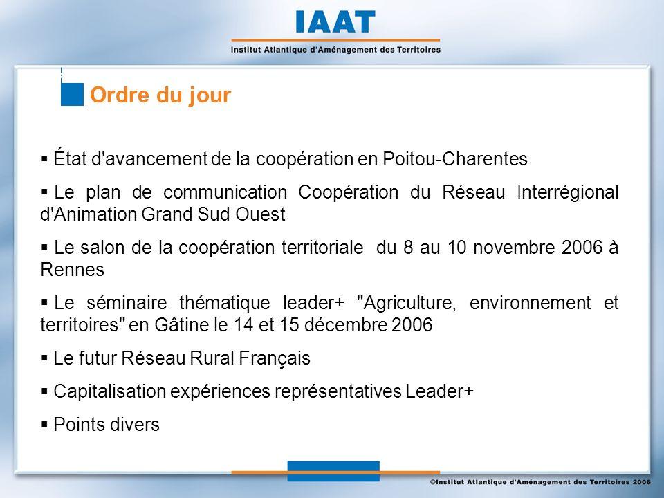 Ordre du jour État d'avancement de la coopération en Poitou-Charentes Le plan de communication Coopération du Réseau Interrégional d'Animation Grand S